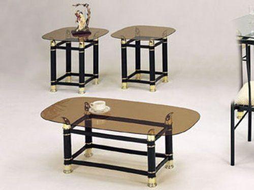 3pc coffeeend table set with smokey glass ac by hpp