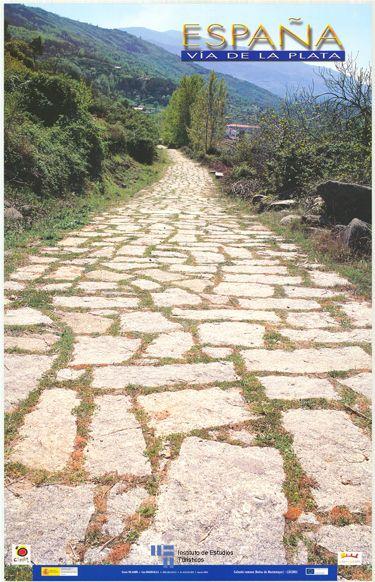 Cartel de turismo de España del año 2003. La Calzada Romana en Baños de Montemañor, en la provincia de #Caceres #Extremadura | via #viajology