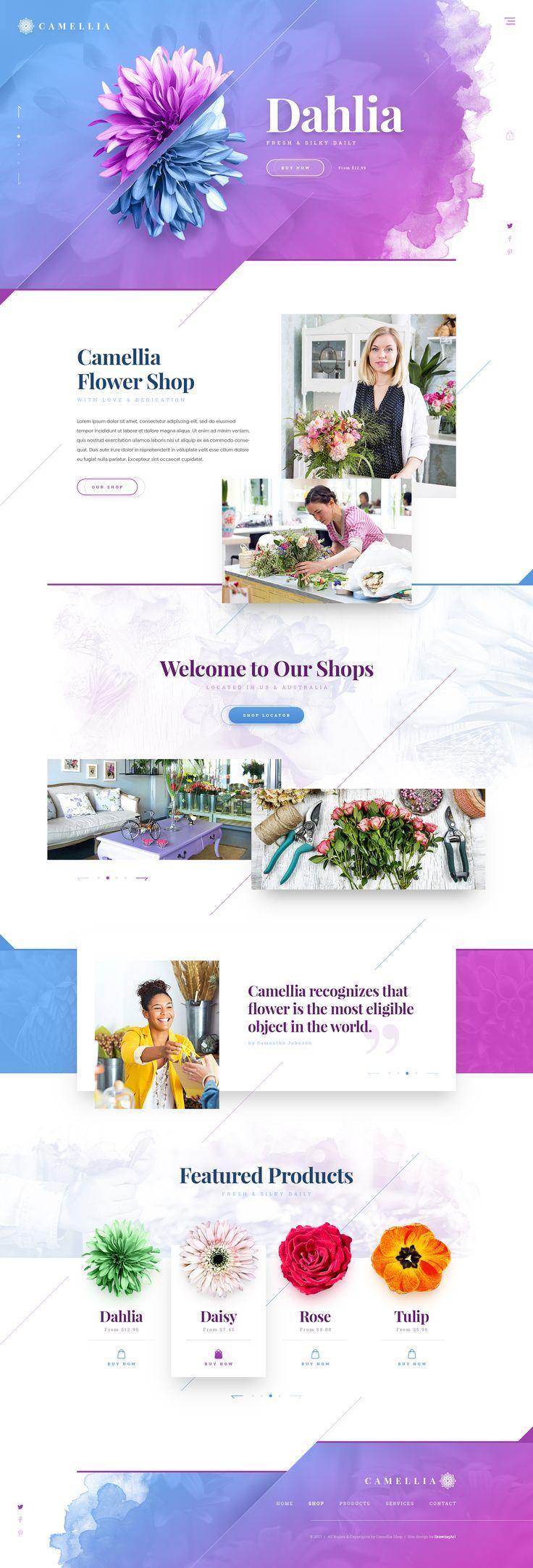 Camellia Flower Shop https://dribbble.com/shots/3496380-Camellia  #drawingart #camellia #dribbble #website #web #design #webdesign #shop #ecommerce #ui #ux #responsive #flower #florist #studio