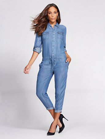 7462d57206da Shop Gabrielle Union Collection - Denim Jumpsuit - Blue Flash Wash . Find  your perfect size online at the best price at New York   Company.