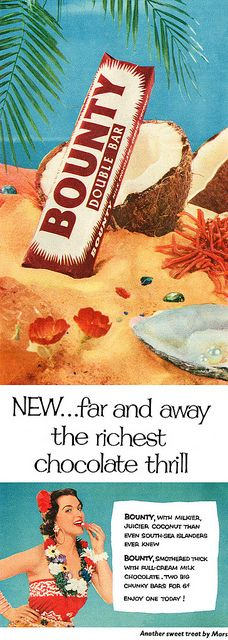 Another delightful, tropical ad for Bounty chocolate bars. #vintage #ad #food #1950s #coconut