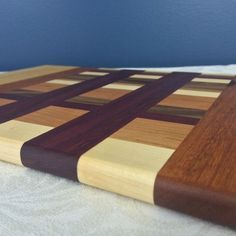 Custom Made Maple, Walnut, Purpleheart & Cherry Cutting Board
