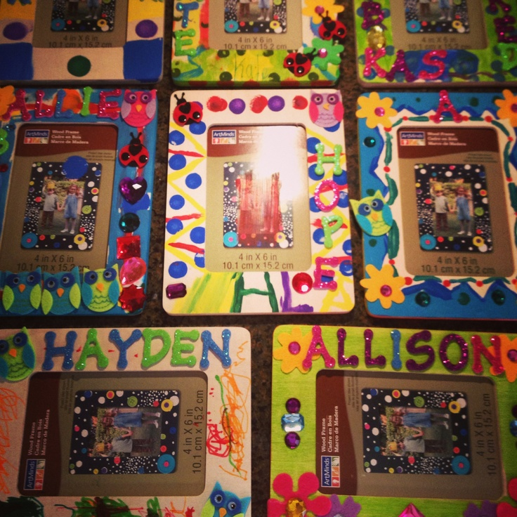 diy party favors 1 wooden picture frames craft paint disposable foam paint brushes felt flowerowl stickers glittery letter stickers markers - Wooden Picture Frames To Paint