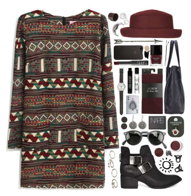 """""""Tribal"""" by jellytime ❤ liked on Polyvore featuring Oliver Peoples, Topshop, J.Crew, Steve Madden, Bare Escentuals, NARS Cosmetics, H&M, Butter London, Lucky Brand and Forever 21"""
