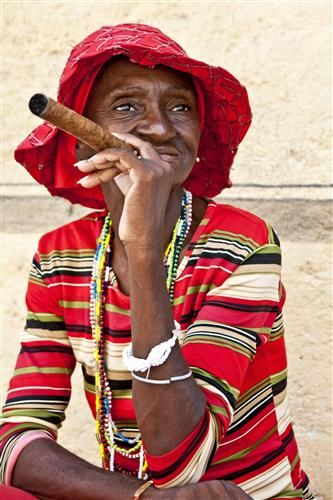 Woman in Red, Old Havana, Cuba by Hal Robert Myers