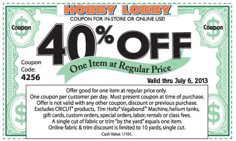Pinned June 30th: 40% off a single item at Hobby Lobby, or online via promo code 2641 coupon via The Coupons App