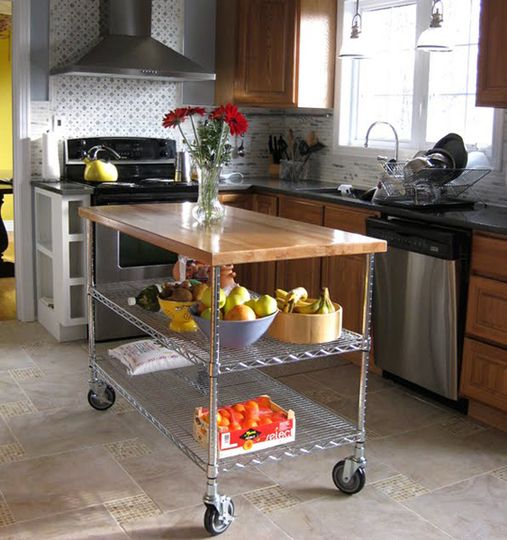 Kitchen Inspiration: 10 Lovely Kitchen Islands -   Use a Small Cart  Small inexpensive carts can be pushed to the side if needed and come in a huge array of styles and varieties!  Learn more at Apartment Therapy