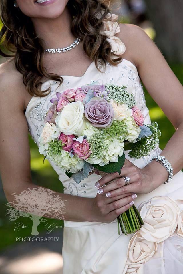 Summer wedding bridal bouquet. Pink, purple, and white #wedding #bridal