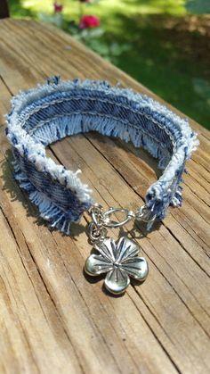 Upcycled Frayed Denim Bracelet with Flower Charm by DenimReDooz