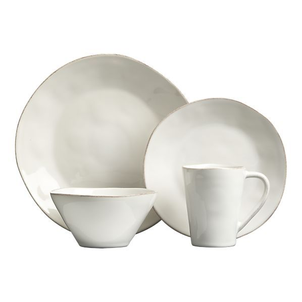 Crate and Barrel Marin White Dinnerware. Economical and looks good for an everyday set. Casual cozy.