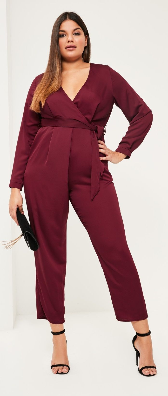 plus size belted satin wrap jumpsuit