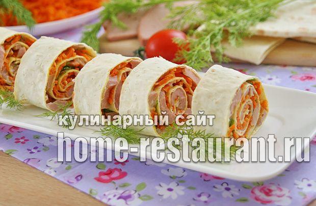 Как приготовить рулет из лаваша с корейской морковкой и колбасой: рецепт с фото пошагово. Рулетики из лаваша с корейской морковкой.