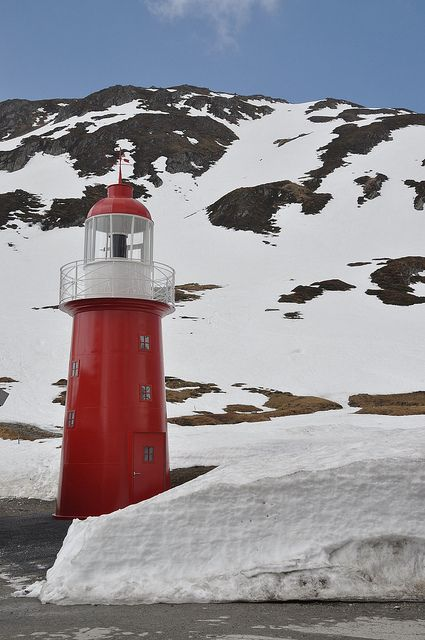 Lighthouse in the snow by raindog, via Flickr - The Oberalp pass, 2,046 metres above sea level, which links the central Swiss tourist resort of Andermatt with the Surselva region of canton Graubünden, lies close to the source of the Rhine.