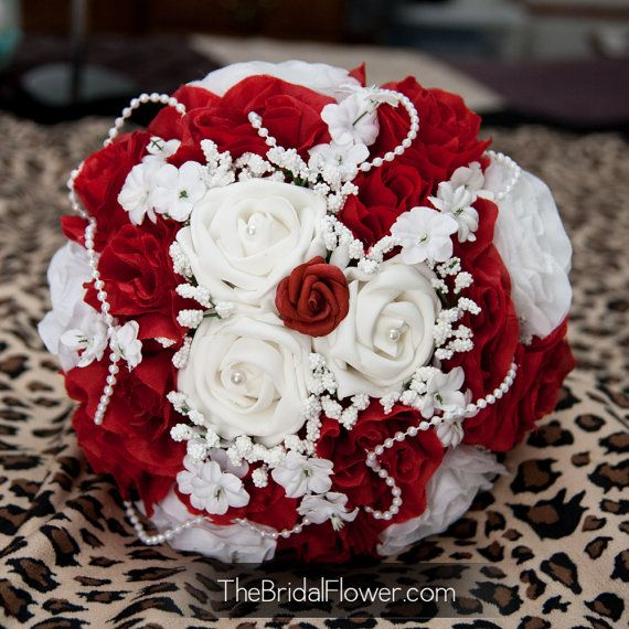 Red And White Wedding Bouquet With Pearls Babys Breath And French Knot Handle With Pearl Pins