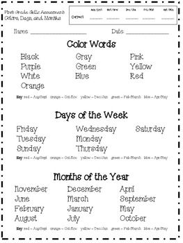 These are some simple assessments to use any time of the year.Reading-Color Words-Days of the Week-Months of the Year-Number words 1-20Math-Coin and dollar name and value-2D Shapes-3D Shapes-Math symbols-Numbers 1-20