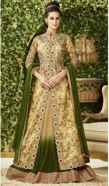 Beige Color Silk Achkan Style Designer Salwar Kameez | FH504276961 #heenastyle , #boutique , #pakistani, #salwar , #kameez , #suit , #dresses , #styles , #fashion , #clothing , #henna , #designs , #mehndi , #more , @heenastyle , #party , #online , #abaya