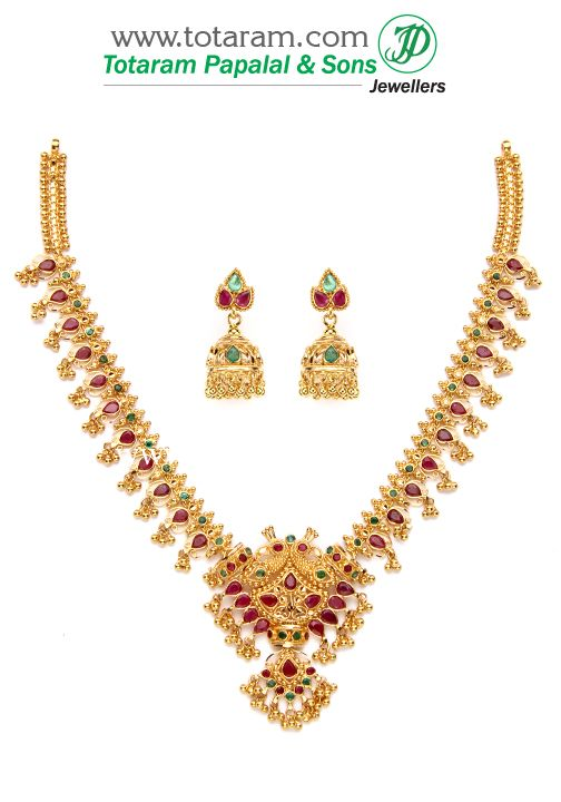 22K Gold 'Peacock' Ruby & Emerald Necklace & Ear Hangings