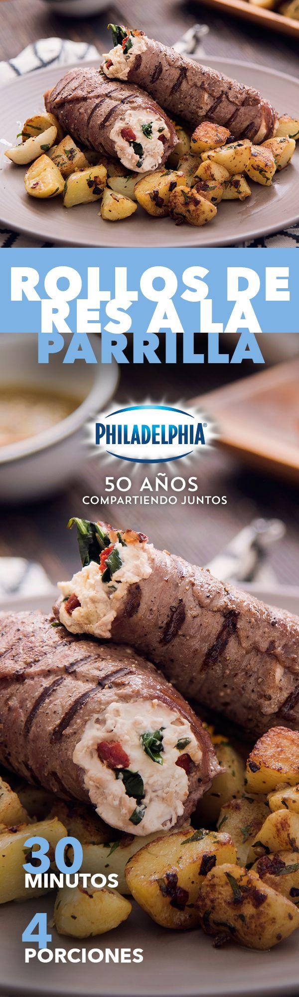 Sabemos que te encanta probar nuevos sabores con Philadelphia. Disfruta estos Rollos de res a la parrilla. #ConocerteEsDelicioso.   #recetas #receta #quesophiladelphia #philadelphia #quesocrema #queso #comida #cocinar #cocinamexicana #recetasfáciles #recetasPhiladelphia #recetasdecocina #comer #carne #res #carnederes #papas #recetascarne #recetascomida