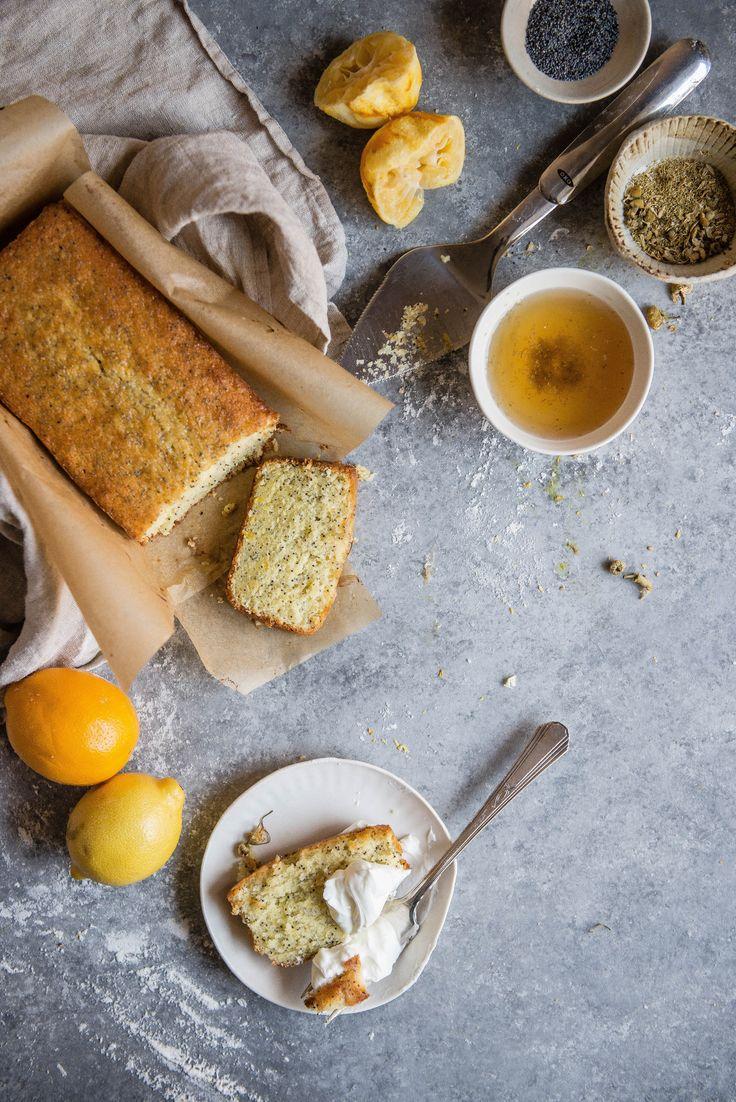 chamomile lemon loaf cake / two red bowls