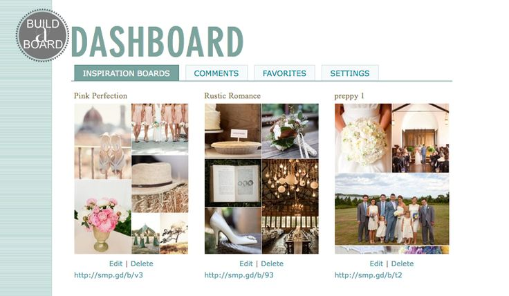 Inspiration board builder..You can choose a layout, browse through thousands of their photos, and create an inspiration board for your wedding.  The best part is your can share this board with family, friends, and even vendors.