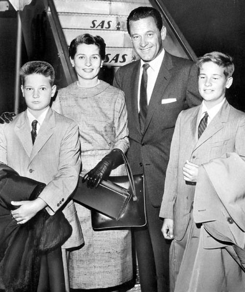 Brenda Marshall & William Holden with sons Scott and Peter. October, 1957