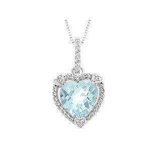 March Birthstone Checkerboard Aquamarine Heart Silver Pendant Available Exclusively at Gemologica.com