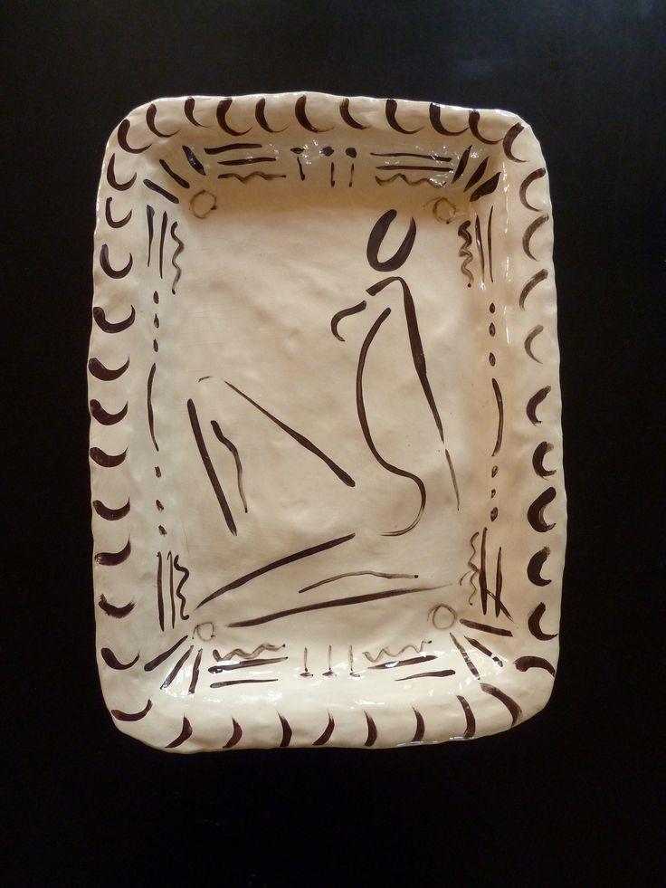 Iron oxide decor on white clay dish - Katherine Scrivens