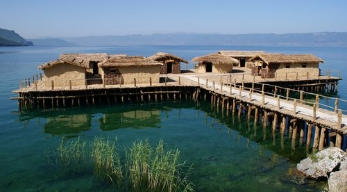 Bay of the Bones in Macedonia (recreated bronze age settlement on Lake Ohrid)