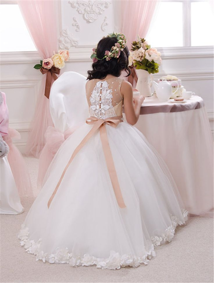 2015 Ivory Lace Flower Girl Dress Wedding Baby Girls Dress Tulle Rustic Baby Birthday Dress with bowFlower Girl Dress Little Baby Girl Baptism Dress Tulle TuTu Infant Toddler Pageant Birthday Party Ch..
