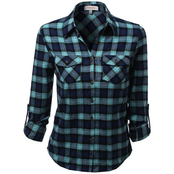 Awesome21 Women's Flannel Plaid Checker Rolled up Shirts Blouse Top ($19) ❤ liked on Polyvore featuring tops, blouses, tartan flannel shirt, blue top, checkered flannel shirts, flannel shirts and plaid shirt