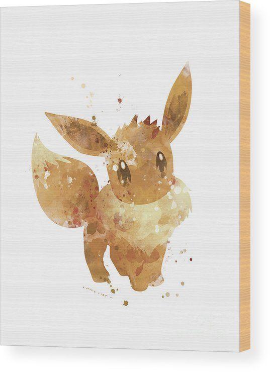 Pokemon Eevee Wood Print