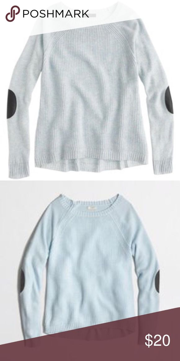 J. Crew elbow patch sweater, light blue Excellent used condition. Light blue, size small. J. Crew Sweaters Crew & Scoop Necks