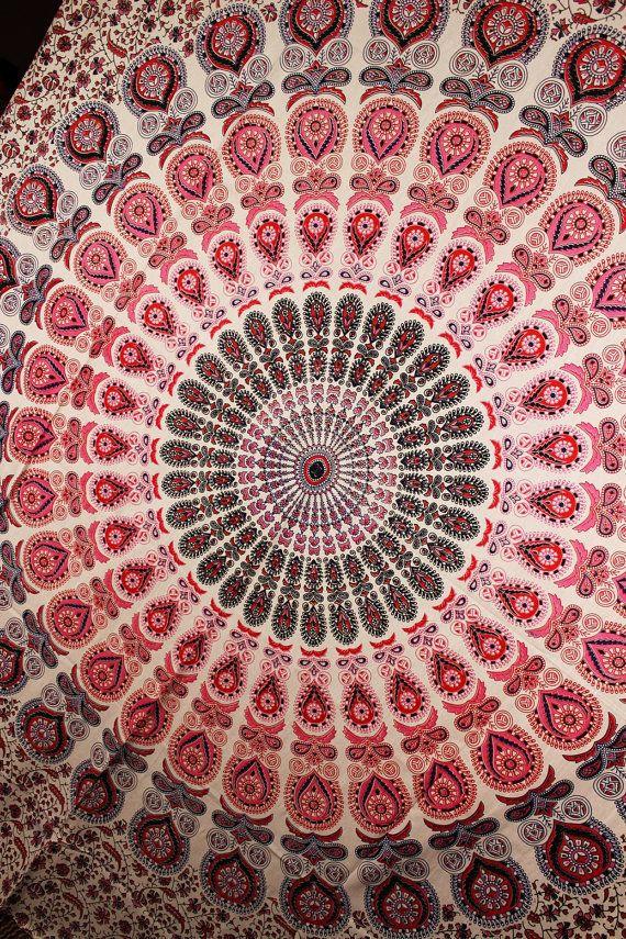 Beautiful Indian peacock pink mandala wall Decor hippie queen tapestry online #Handmade