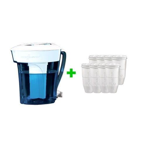 Zero Water 10 Cup Pitcher Bundle W/ 8 Pack Filter Ion Exchange Water Dispenser, Silver aluminum