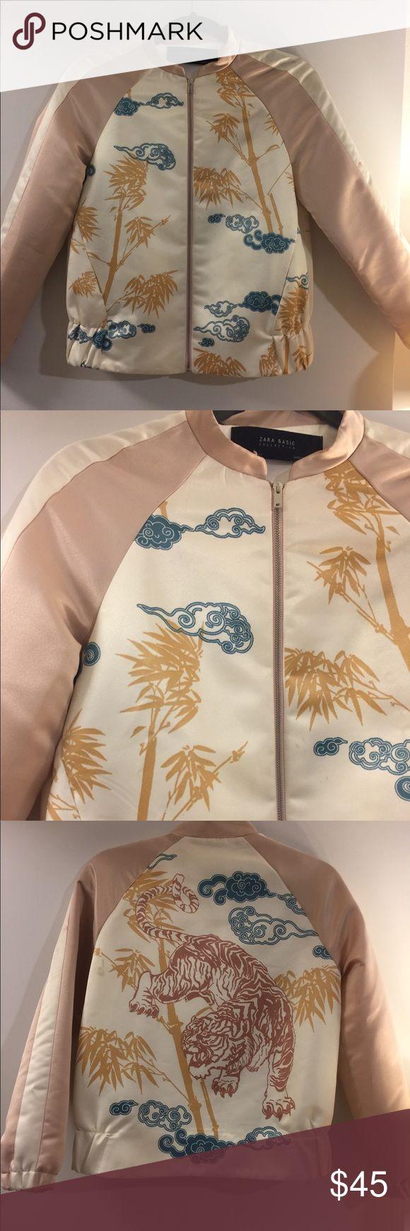 Zara Bomber jacket Zara light pink and white jacket. Little stain on one sleeve. Zipper close. Side pockets. Lightweight. OFFERS ACCEPTED Zara Jackets & Coats Puffers