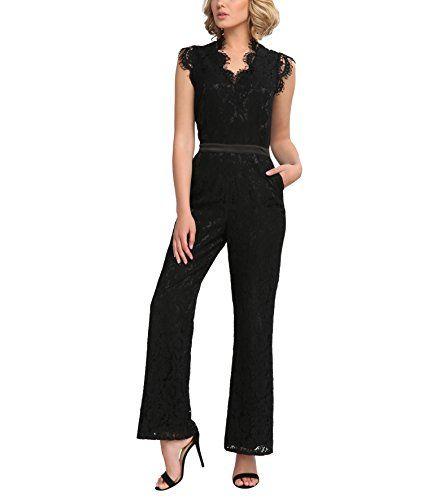 24dde15038c1 APART Fashion Damen Jumpsuit 54506 (Schwarz) 38. Festlicher Spitzenoverall.  Aus zartem Mischgewebe