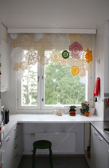 ReFab Diaries: Repurpose: Doily re-do's ...What a wonderful big window to have in your kitchen!!!