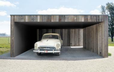 Moderne carport in hout