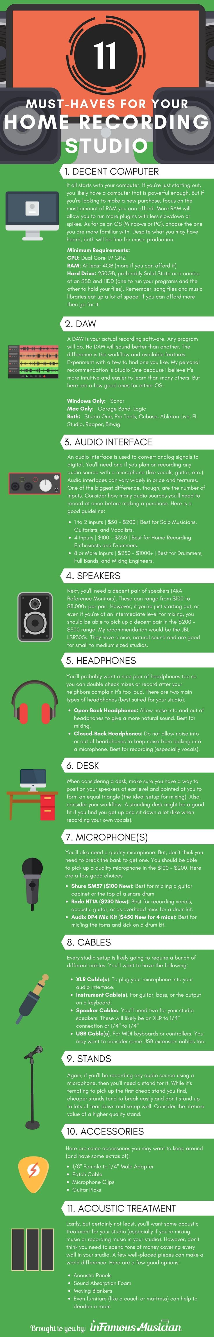 Home Recording Studio Equipment [Infographic] http://www.infamousmusician.com/home-recording-studio-equipment/ #homerecording #homestudio