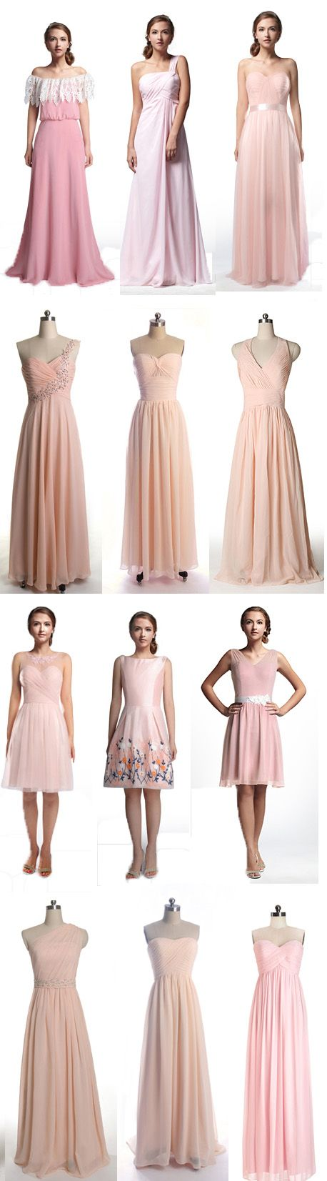 Inexpensive & affordable pink, blush, peach bridesmaid dresses from http://www.tulleandchantilly.com/pink-bridesmaid-dress-c-20_26/