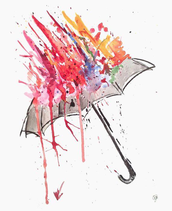 Watercolor Original Print by Vania G. - 8 1/2 x 11 - titled Umbrella (Multicolor)