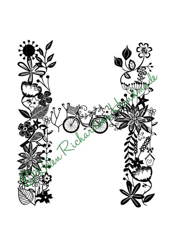 floral alphabet letter  u2018h u2019 paper cutting template for