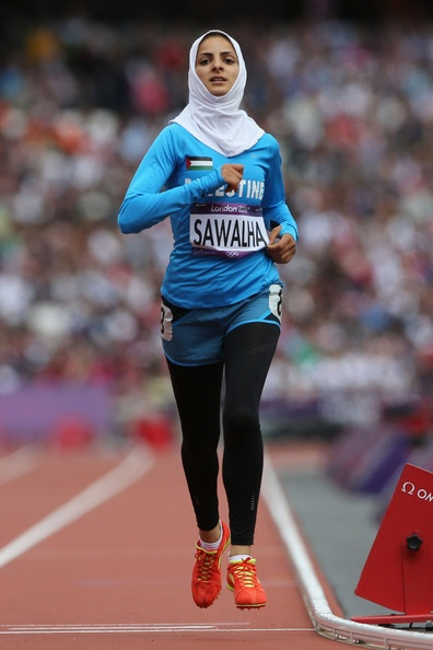 Woroud Sawalha, Palestine, competes in the Women's 800m Round 1 Heats on Day 12 of the London 2012 Olympic Games at Olympic Stadium on August 8, 2012 in London, England.