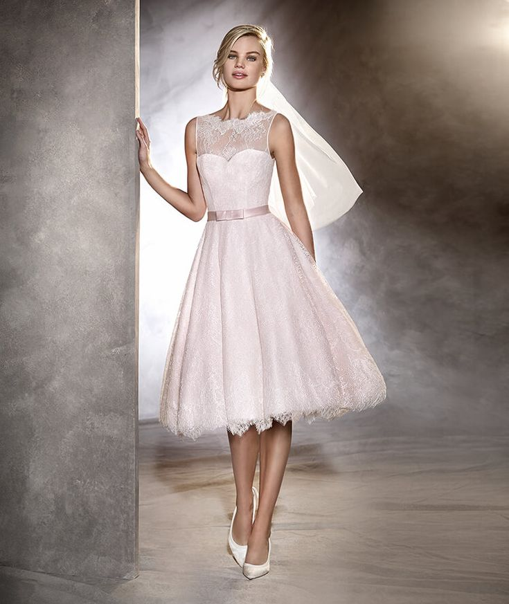 ODRI - Short tulle and Chantilly wedding dress with paillettes
