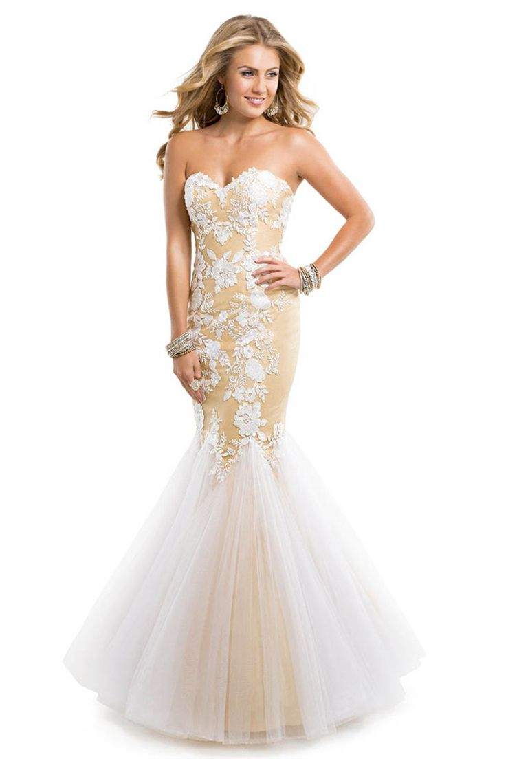 2014 Prom Dress Tulle Mermaid Floor Length With Lace Appliques Nude Illusion baf0e4516a32