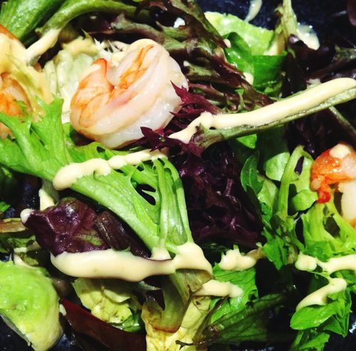 prawn and avocado salad with wasabi mayo dressing