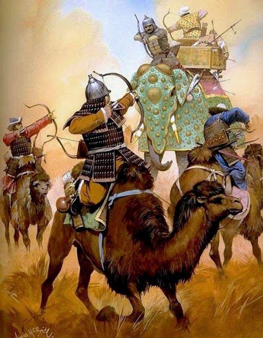 McBride, Angus (b,1931)- Mongols Camel Cavalry vs War Elephants of Tamerlane (Timurid Empire) -2b