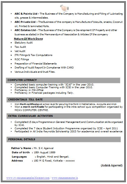 Fresher Resume Format Doc (Page 2)