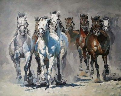 Obraz olejny - Konie - TABUN - Sochaczewska 100x80