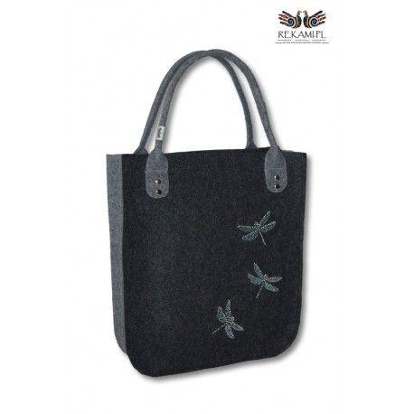 Bardzo ładna i praktyczna torba filcowa ozdabiania dżetami